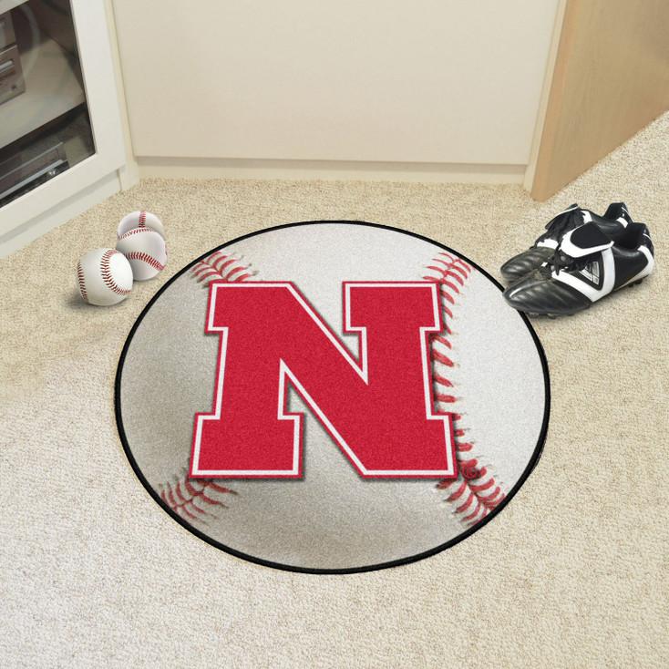 "27"" University of Nebraska Baseball Style Round Mat"