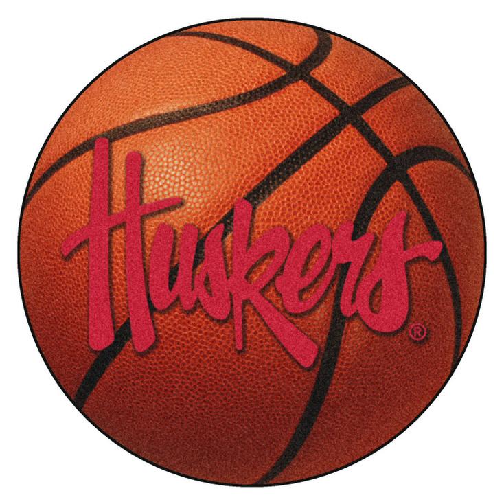 "27"" University of Nebraska Huskers Logo Orange Basketball Style Round Mat"