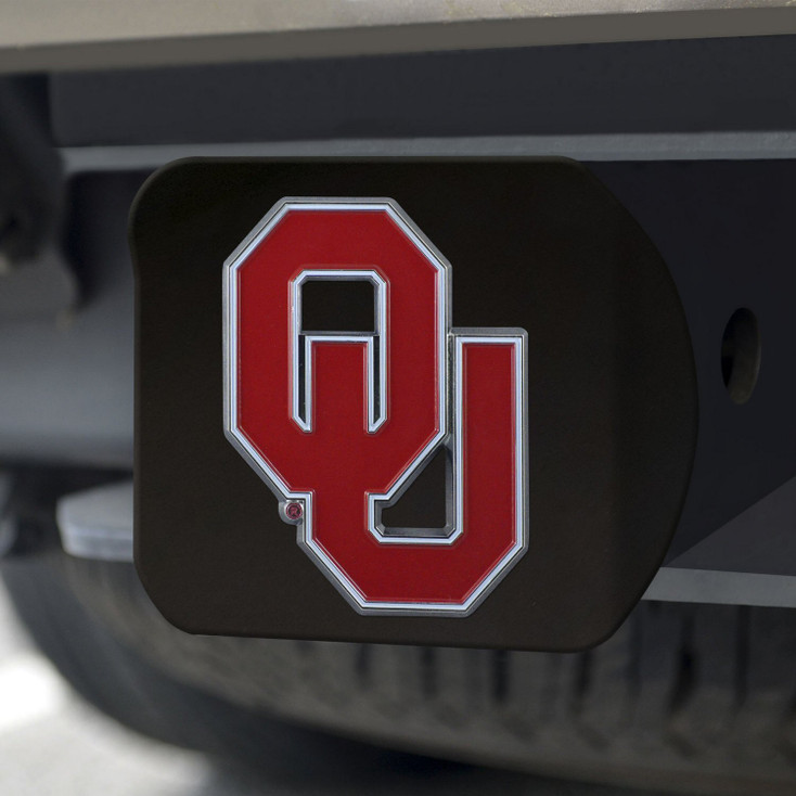 University of Oklahoma Hitch Cover - Color on Black