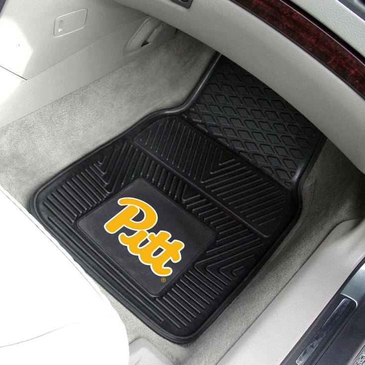 University of Pittsburgh Heavy Duty Vinyl Front Black Car Mat, Set of 2