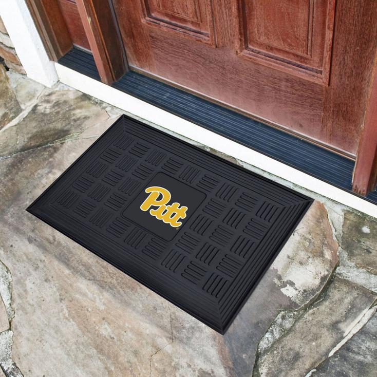 "19.5"" x 31.25"" University of Pittsburgh Medallion Rectangle Door Mat"