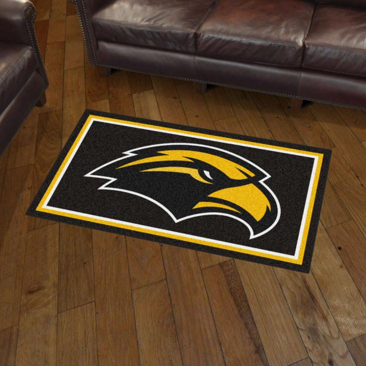 3' x 5' University of Southern Mississippi Black Rectangle Rug