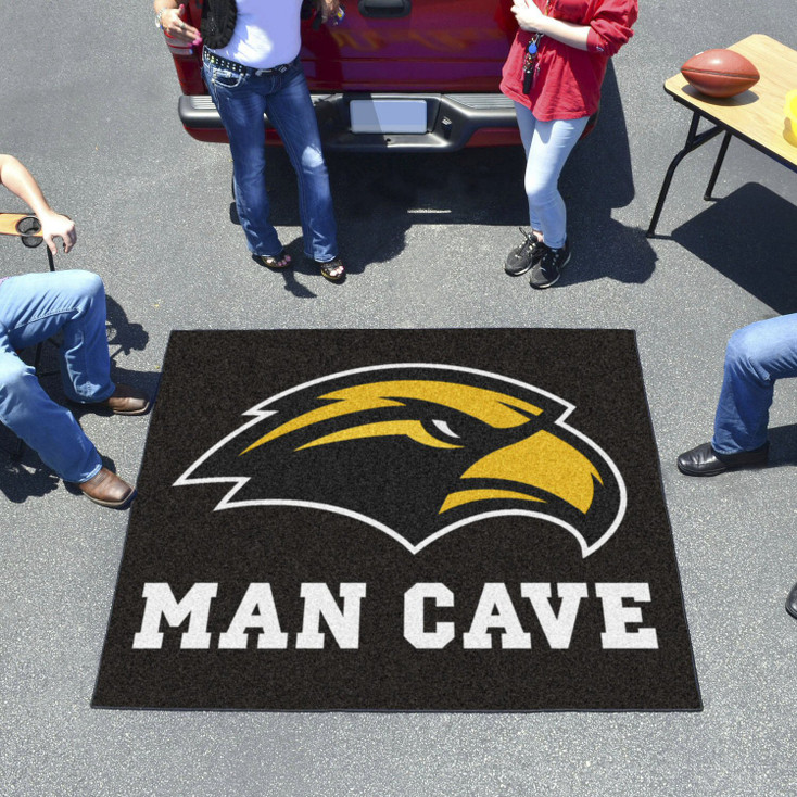 """59.5"""" x 71"""" University of Southern Mississippi Man Cave Tailgater Black Rectangle Mat"""