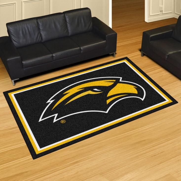 5' x 8' University of Southern Mississippi Black Rectangle Rug