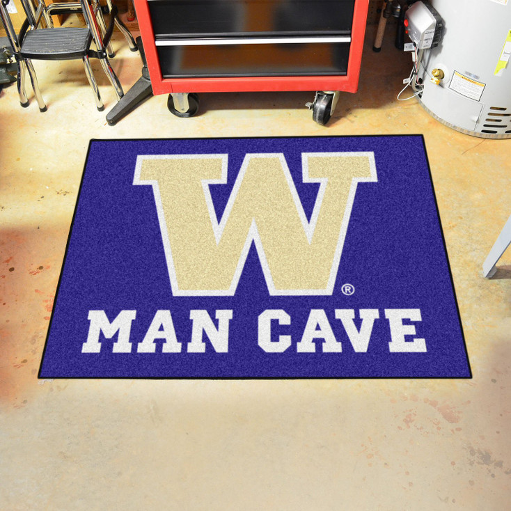 "33.75"" x 42.5"" University of Washington Man Cave All-Star Purple Rectangle Mat"