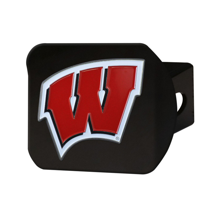 University of Wisconsin Hitch Cover - Color on Black
