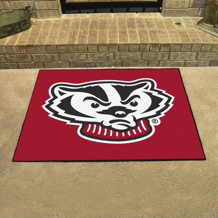 "33.75"" x 42.5"" University of Wisconsin Badgers All Star Red Rectangle Mat"