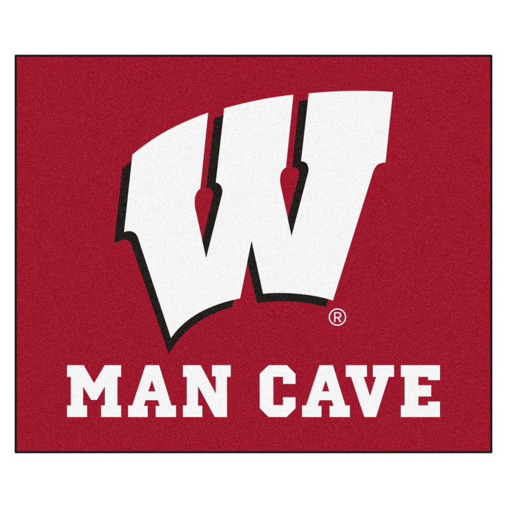 """59.5"""" x 71"""" University of Wisconsin Man Cave Tailgater Red Rectangle Mat"""