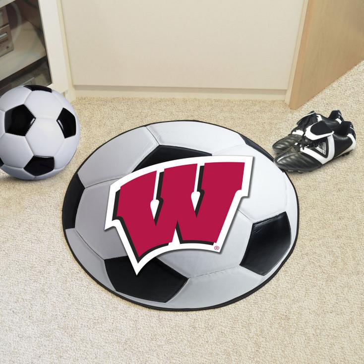 "27"" University of Wisconsin Soccer Ball Round Mat"