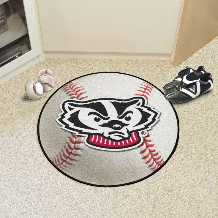 "27"" University of Wisconsin Baseball Style Round Mat"