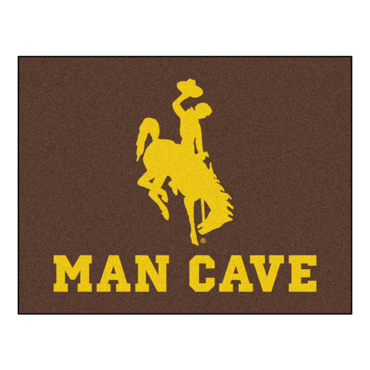 """33.75"""" x 42.5"""" University of Wyoming Man Cave All-Star Brown Rectangle Mat"""