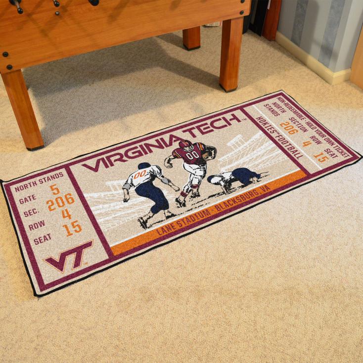 """30"""" x 72"""" Virginia Tech Ticket Rectangle Runner Mat"""
