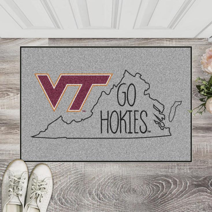 "19"" x 30"" Virginia Tech Southern Style Gray Rectangle Starter Mat"