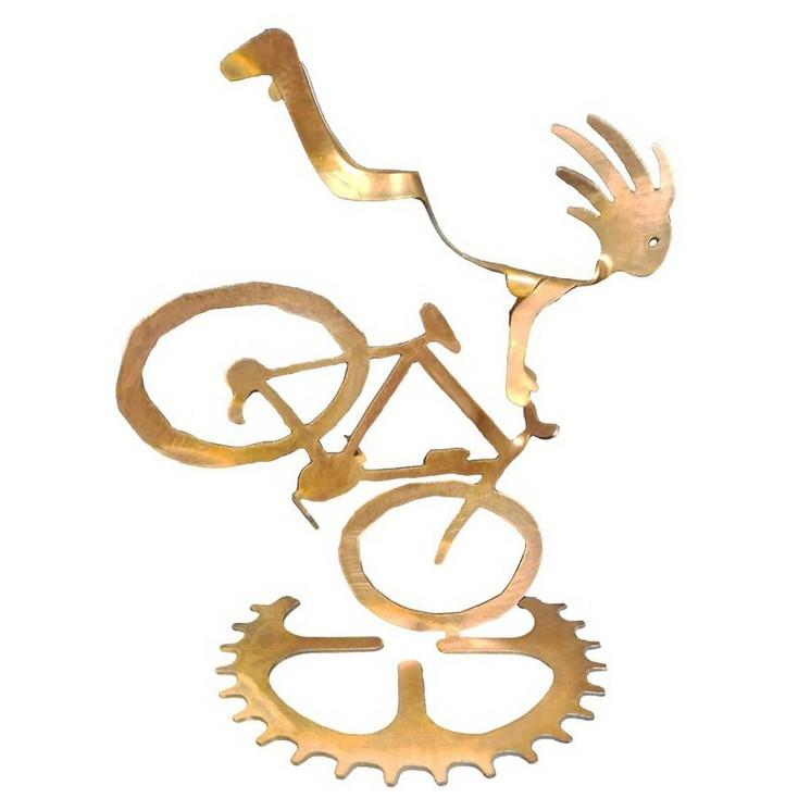 Kokopelli Endo Girl Bike Rider Rust Metal Sculpture