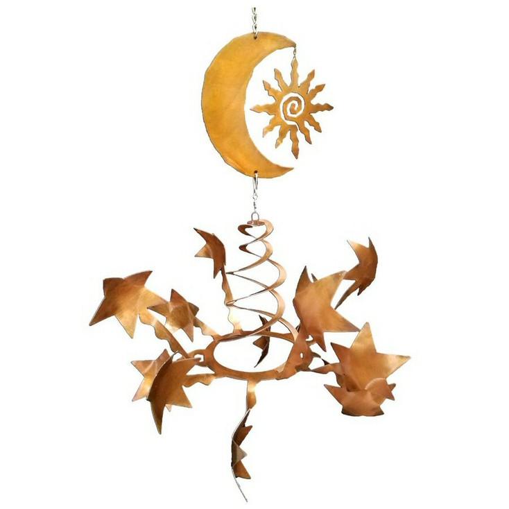 Stars with Southwest Sun & Moon Rust Metal Wind Spinner Sculpture