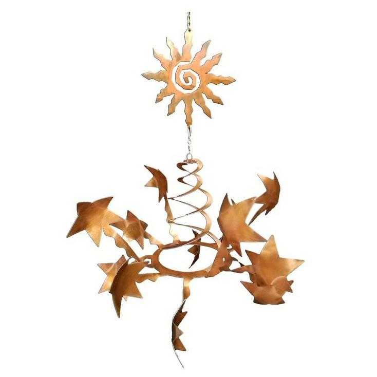 Stars with Southwest Sun Rust Metal Wind Spinner Sculpture