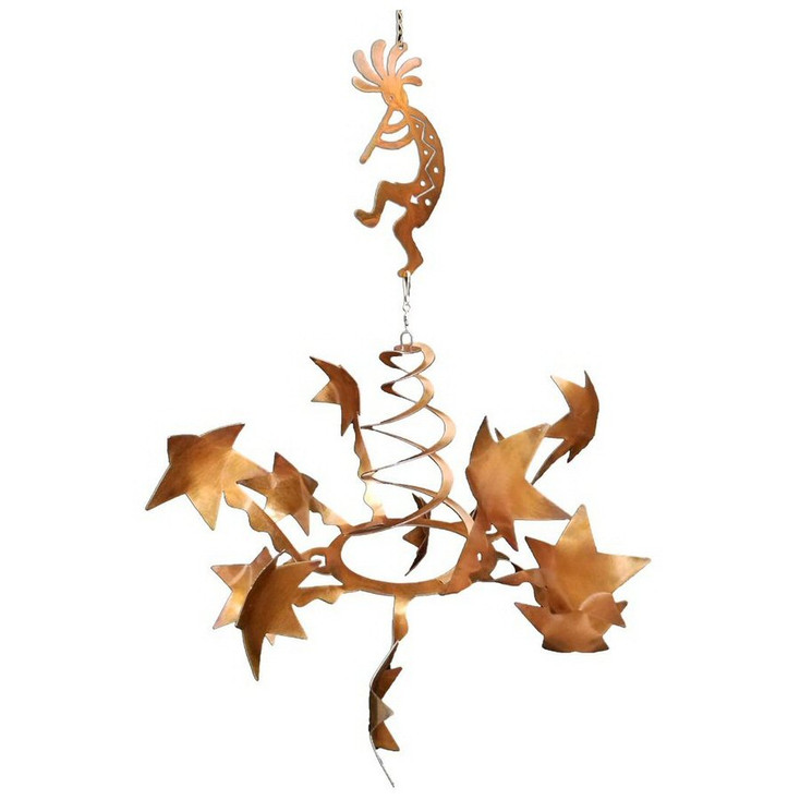 Stars with Flute Kokopelli Rust Metal Wind Spinner Sculpture