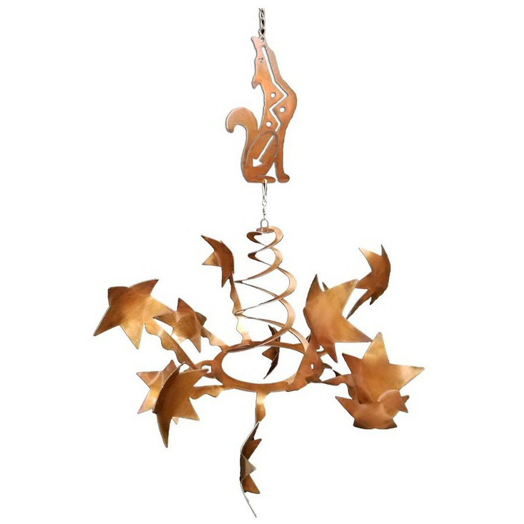 Stars with Southwest Coyote Rust Metal Wind Spinner Sculpture