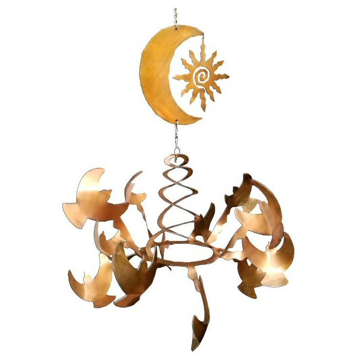 Birds with Southwest Sun & Moon Rust Metal Wind Spinner Sculpture