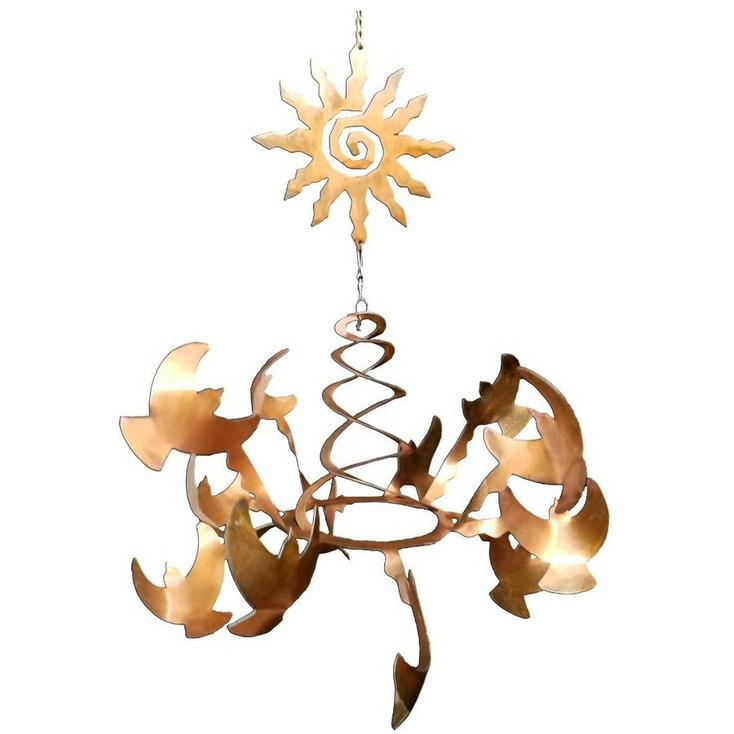 Birds with Southwest Sun Rust Metal Wind Spinner Sculpture