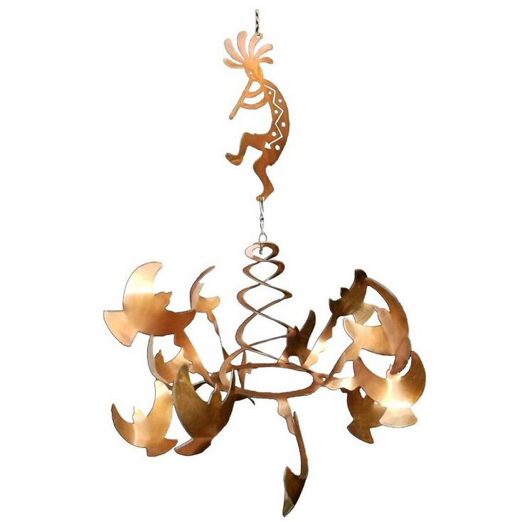 Birds with Flute Kokopelli Rust Metal Wind Spinner Sculpture