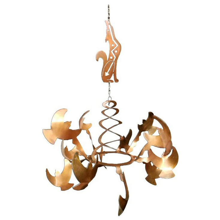 Birds with Southwest Coyote Rust Metal Wind Spinner Sculpture