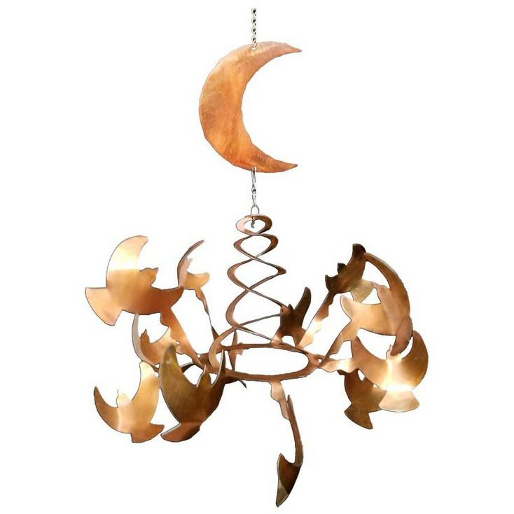 Birds with Moon Rust Metal Wind Spinner Sculpture