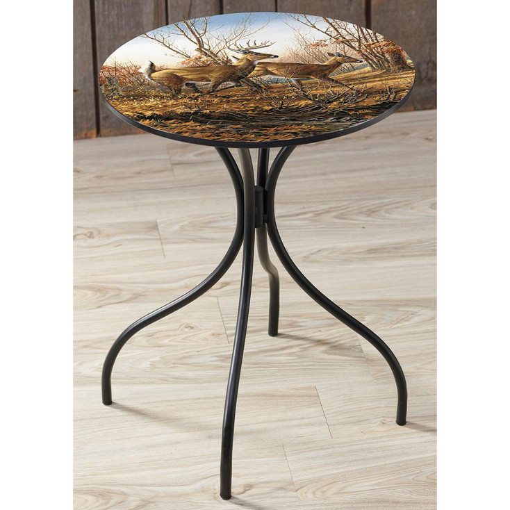 Autumn Run Whitetail Deer Metal Accent Table with Printed Top by Terry Redlin