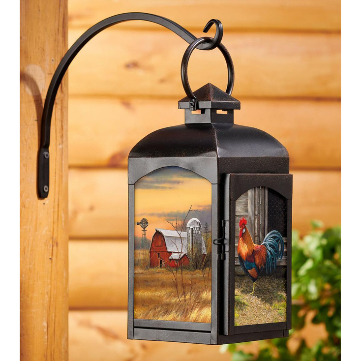 Rooster Bird and Barn Black Metal and Glass Candle Lantern by Rosemary Millette