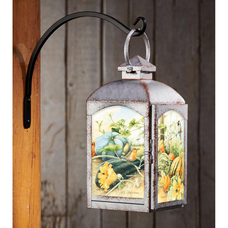 Autumn Garden Galvanized Gray Metal and Glass Candle Lantern by Marjolein Bastin