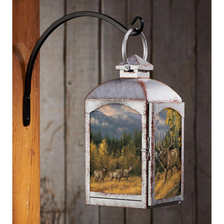 Autumn Song Elk Galvanized Gray Metal and Glass Candle Lantern by Rosemary Millette