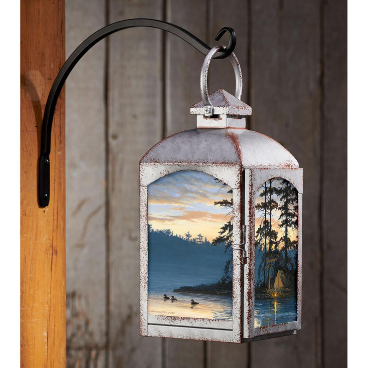 Peace and Quiet Loons Galvanized Gray Metal and Glass Candle Lantern by Persis Clayton Weirs