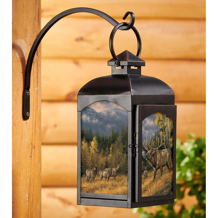 Autumn Song Elk Black Metal and Glass Candle Lantern by Rosemary Millette