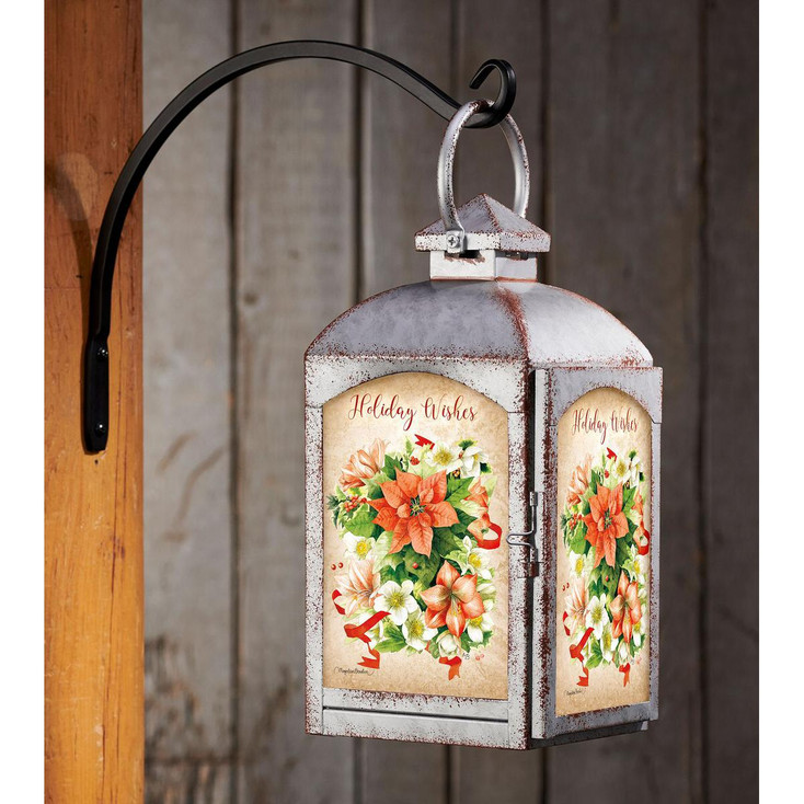 Holiday Wishes Poinsettia Flowers Galvanized Gray Metal and Glass Candle Lantern by Marjolein Bastin