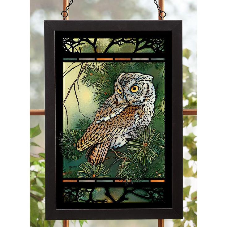 Screech Owl Bird Stained Glass Wall Art