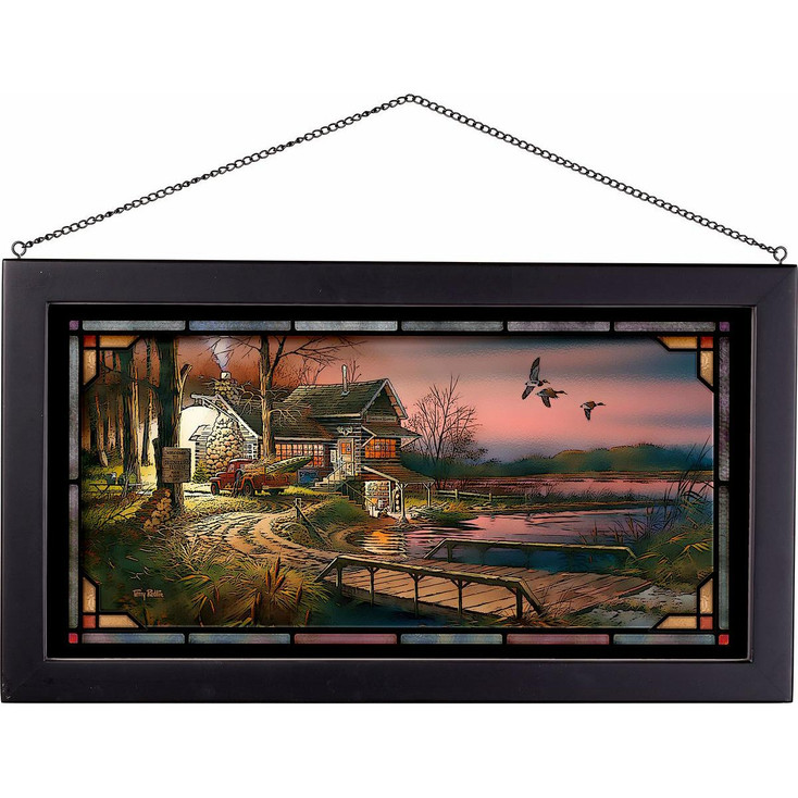 Hunter's Haven Cabin Stained Glass Wall Art
