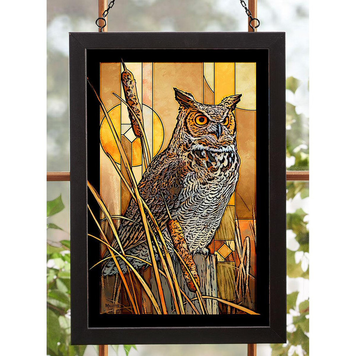 Great Horned Owl Bird Stained Glass Wall Art