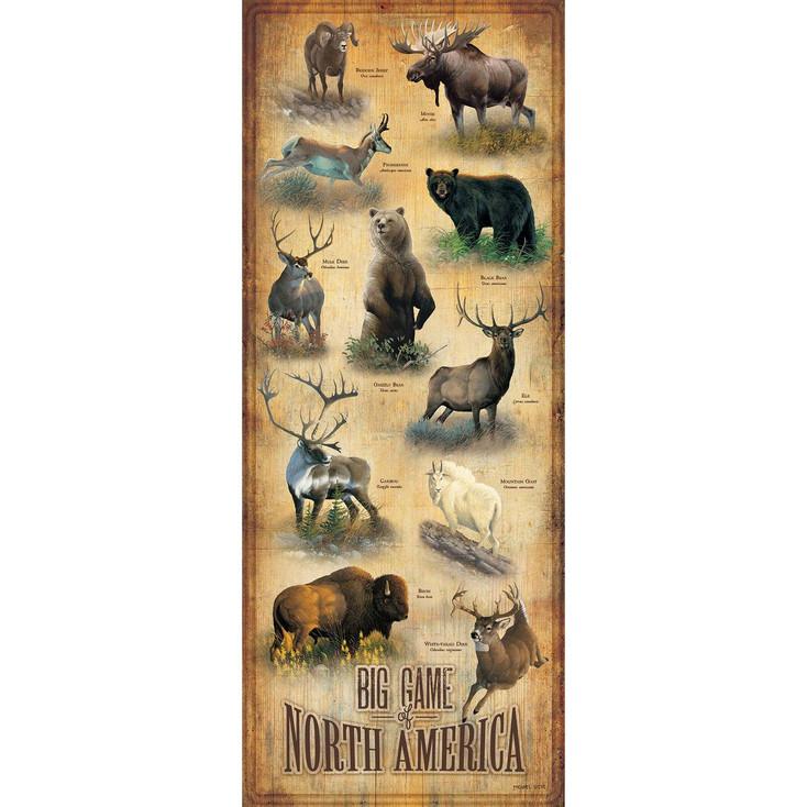 Big Game of North America ID Chart Wood Sign