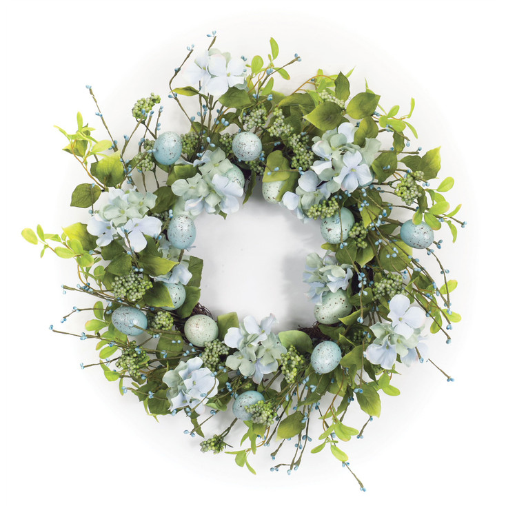 """22"""" Egg and Floral Artificial Wreath"""