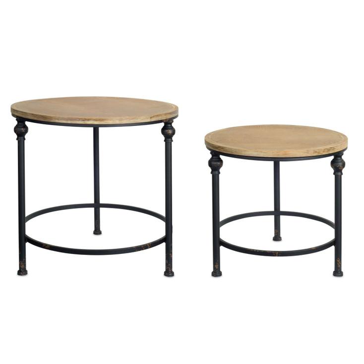Santa Fe Metal and Wood Tables, Set of 2