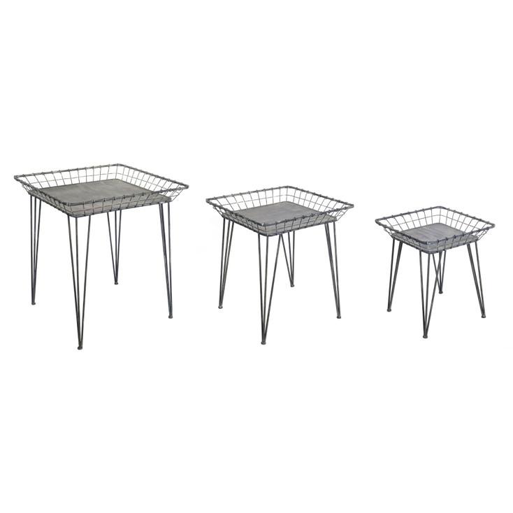 Scoop Metal Tray Tables, Set of 3