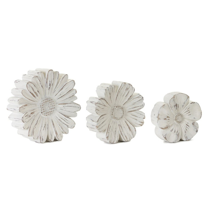 Chalky Flowers Resin and Stone Powder Sculptures, Set of 3