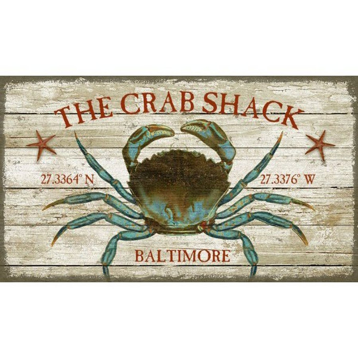 Custom Crab Shack Baltimore Latitude Vintage Style Wooden Sign