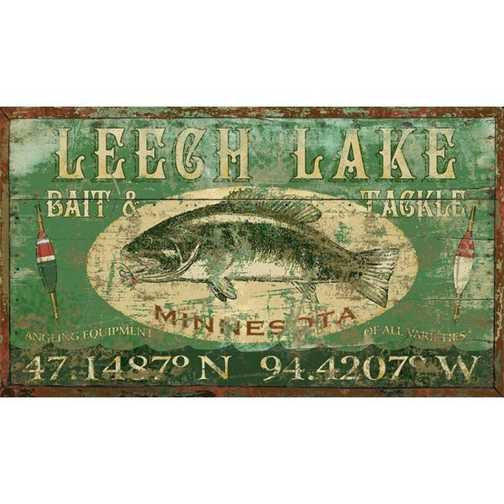 Custom Leech Lake Bass Fish Vintage Style Wooden Sign