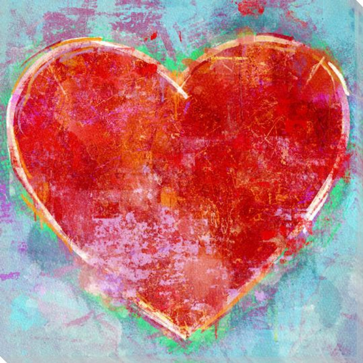 Red Heart Emoji Wrapped Canvas Giclee Art Print Wall Art