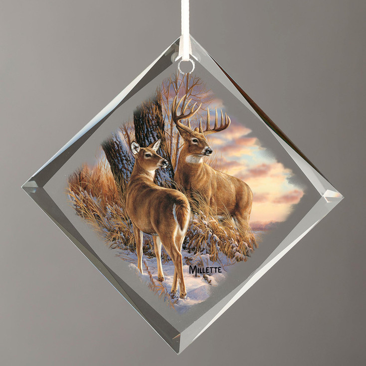 Twilight Escapade Whitetail Deer Diamond Shape Glass Christmas Tree Ornaments, Set of 6