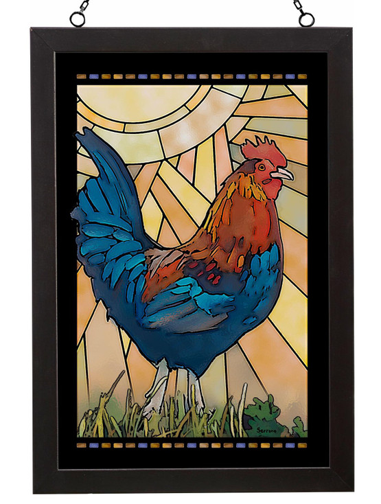 Standing Rooster Bird Stained Glass Wall Art