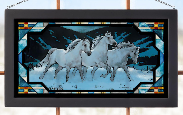 Night Mares Horses Stained Glass Wall Art