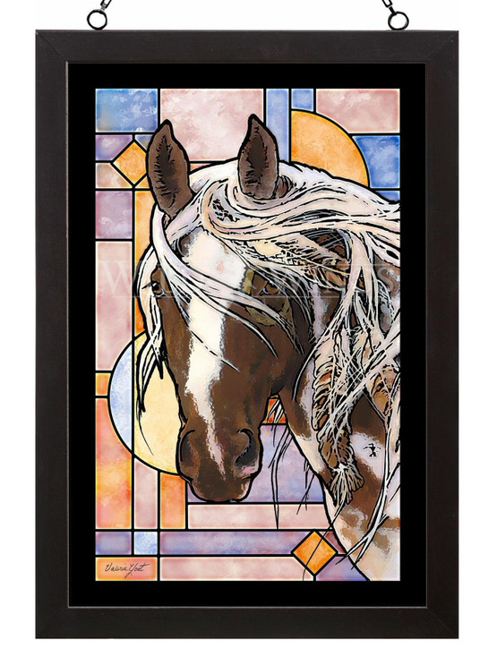 Wambli Okiye Suktanka Horse Stained Glass Wall Art