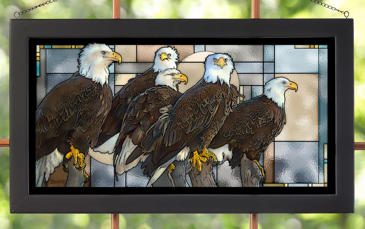 Board of Directors Bald Eagle Birds Stained Glass Wall Art